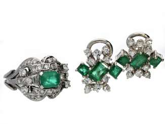 Ring/earrings: formerly very expensive vintage goldsmith jewelry with fine emeralds, brilliant-cut diamonds and diamonds