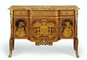 A LATE LOUIS XV ORMOLU-MOUNTED TULIPWOOD, AMARANTH AND FRUITWOOD MARQUETRY COMMODE