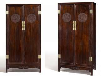 Pair of large cabinets with dragon medallions