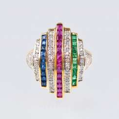 Colored gemstone ring with diamonds