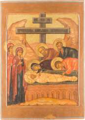 LARGE-SIZED AND RARE ICON OF THE ENTOMBMENT OF CHRIST