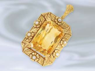 Brooch/pendant: probably unique gold work, wrought with an exceptionally large citrine very nice quality, 14K Gold