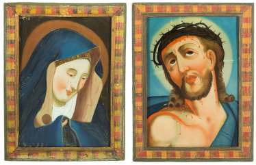 Lot: 2 Reverse Glass Paintings