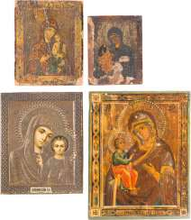 FOUR SMALL ICONS WITH MERCY PICTURES OF THE MOTHER OF GOD