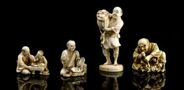 Four Okimono made of ivory with figurative representations