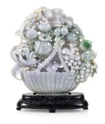 FRUIT BASKET WITH BIRDS, JADEITE,