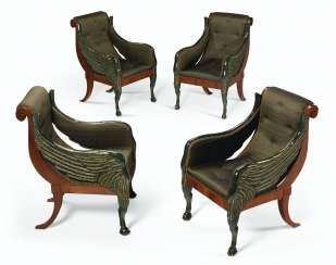 A SET OF FOUR RUSSIAN PARCEL-GILT AND BRONZED MAHOGANY BERGE...