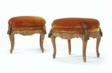 A PAIR OF LOUIS XV GILT-WALNUT TABOURETS