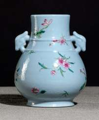 Light blue glazed 'hu'shaped Vase made of porcelain with Famille rose decor of flowers