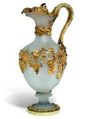 A VICTORIAN SILVER-GILT MOUNTED FROSTED GLASS WINE JUG