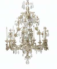 A SILVERED METAL AND CUT-GLASS EIGHT-LIGHT CHANDELIER