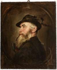 Portrait of a hunter with a whistle, German, around 1900