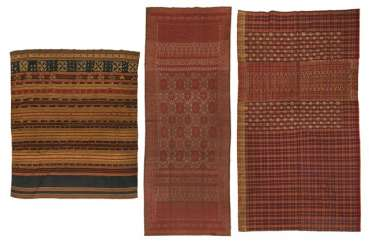 Three textiles, some with metal threads
