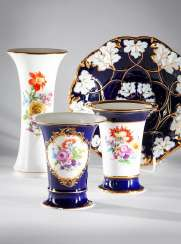 3 Vases Of Meissen Floral Painting.