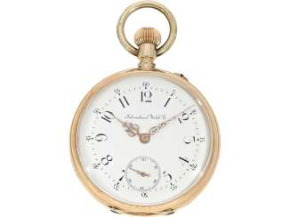 Pocket watch: early 14K Gold Lepine the IWC brand from the year 1888, with the master excerpt from the book