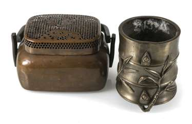 Hand-warmer made of copper, and paint cups in the shape of a bamboo segment from Bronze