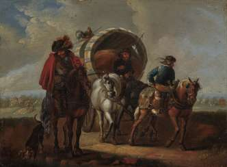 Austria 18th century, Princely Passenger Train - farmers with covered wagons