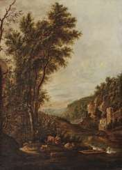 Tree landscape with figures and architecture