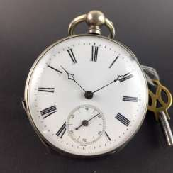 Mens pocket watch: cylinder pocket watch, silver pocket watch, polished cover glass, 19. Century Elevator Key.