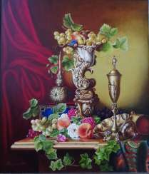 """Fruit in an ivory vase""."