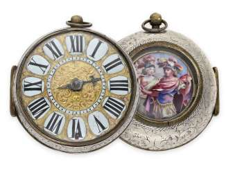 Pocket watch: early and extremely rare Oignon with Central Elevator and enamel painting, the Royal watchmaker Turet (Thuret) a Paris, CA. 1690