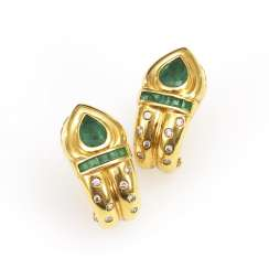 Stud earrings pair with emeralds and diamonds
