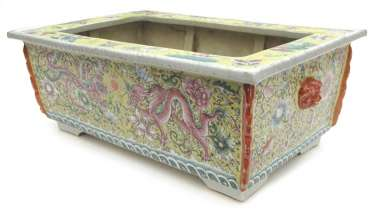 Rectangular porcelain Jardiniere with decoration of dragon and Phoenix on yellow background