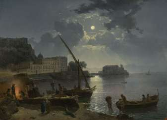Moonlight over Naples, signed and dated 1827.