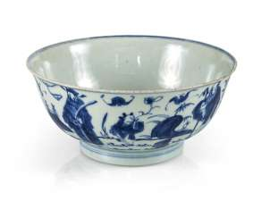Under glaze blue decorated porcelain bowl with scholar and servant boys