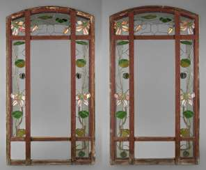 Pair Of Leaded Glass Window Art Nouveau