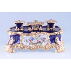 INKWELL NEO-ROCOCO. FRANCE, PRIVATE PORCELAIN MANUFACTORY.