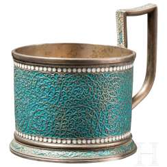 Enamelled silver tea glass holder, Gustav Klingert, Moscow, 1892