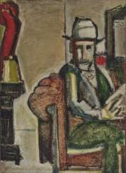 Markus Lüpertz, seated man with hat, 1960s