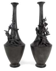 PAIR OF VASES WITH FLORAL DECOR,