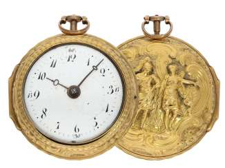 Pocket watch: early English 18K Gold repoussé technology, double-housing Spindeluhr, signed versts London Hallmarks 1760