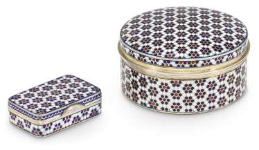 A CHAMPLEVÉ ENAMEL SILVER-GILT SNUFF BOX AND PILL BOX