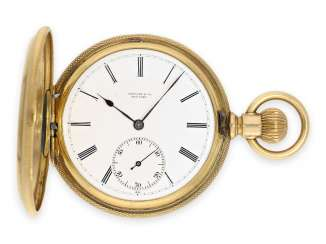 Pocket watch: heavy gold savonnette Tiffany Co. No. 86188, possibly a Patek Philippe caliber, around 1890