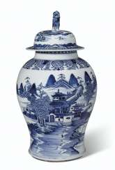 A BLUE AND WHITE BALUSTER JAR AND COVER