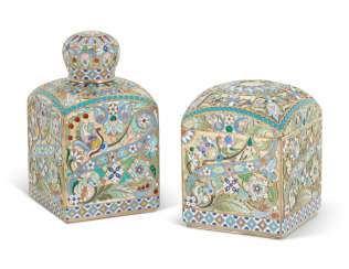 A CLOISONNÉ ENAMEL SILVER-GILT TEA CADDY AND SUGAR BOX