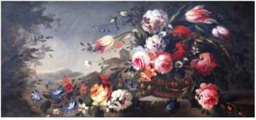 "The painting "" LANDSCAPE WITH FLOWERS""C. 18V"