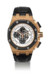 AUDEMARS PIGUET, LIMITED EDITION PINK GOLD AND CERAMIC ROYAL OAK OFFSHORE RUBENS BARRICHELLO II, NO. 329/500