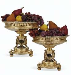 A PAIR OF FRENCH SILVER-GILT LARGE CENTERPIECE DESSERT STANDS