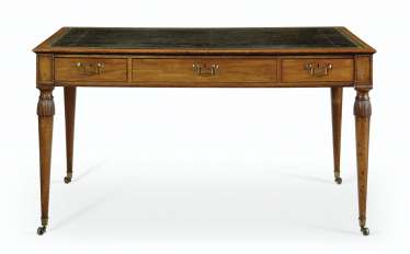 A GEORGE III MAHOGANY PARTNERS LIBRARY TABLE