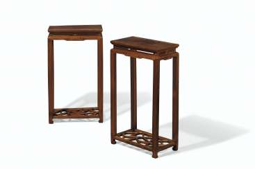A PAIR OF HUALI-INSET TIELIMU STANDS, HUAJI