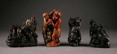 STAMPS FOUR stone figures, China, around 1900