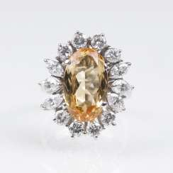 Fine Gold Topaz And Diamond Ring