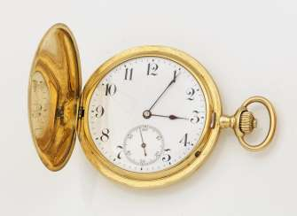 Gold hunter pocket watch