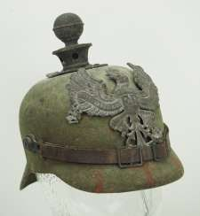 Prussia: Field gray replacement spiked hat made of felt, for artillery crews.