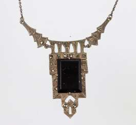 Onyx necklace with marcasites