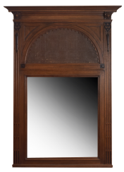 Antique mirror inlaid with leather of the late nineteenth century